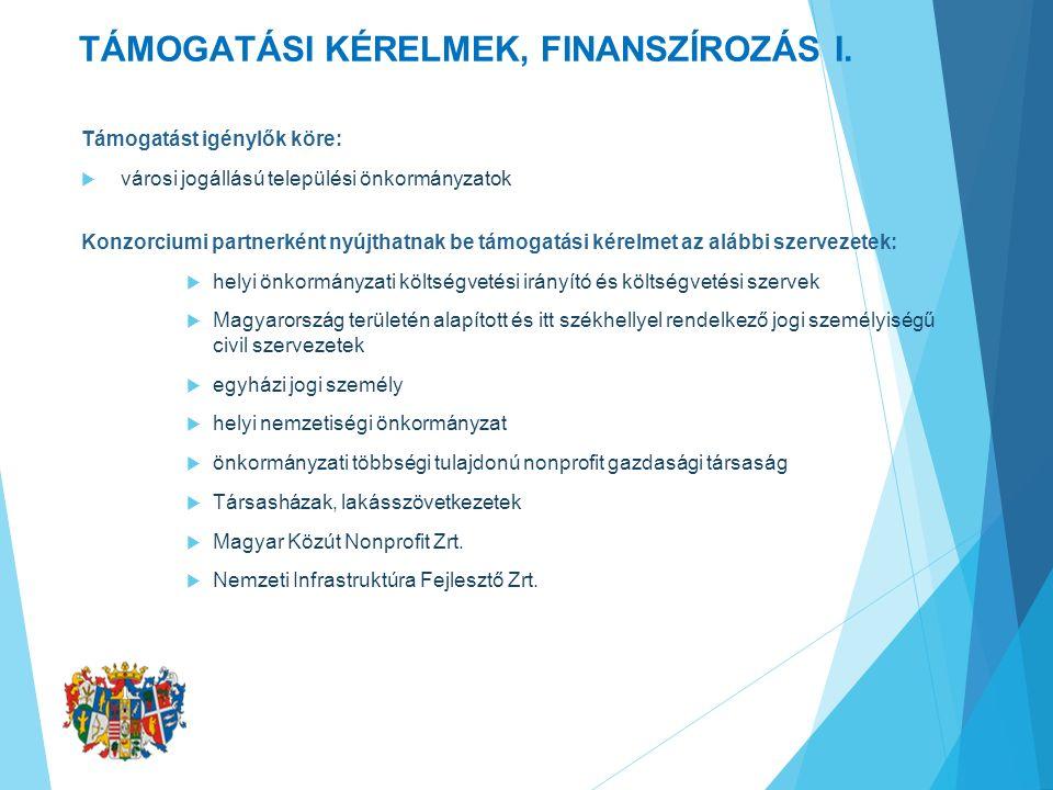 TÁMOGATÁSI KÉRELMEK, FINANSZÍROZÁS II.A támogatási kérelem benyújtása: 2016.