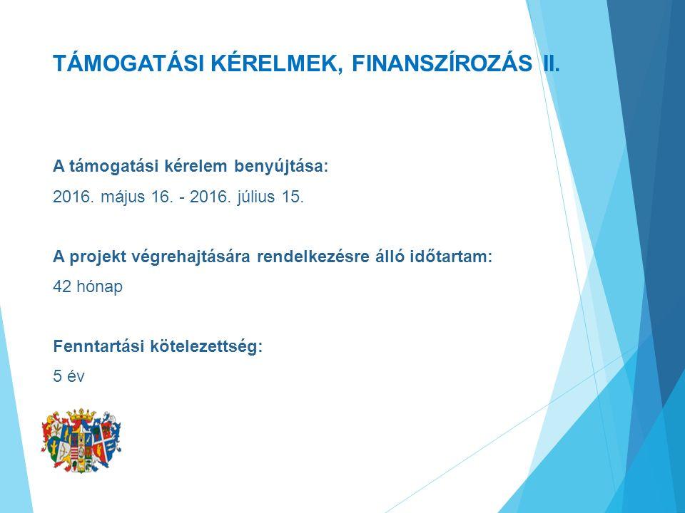 TÁMOGATÁSI KÉRELMEK, FINANSZÍROZÁS II. A támogatási kérelem benyújtása: 2016.
