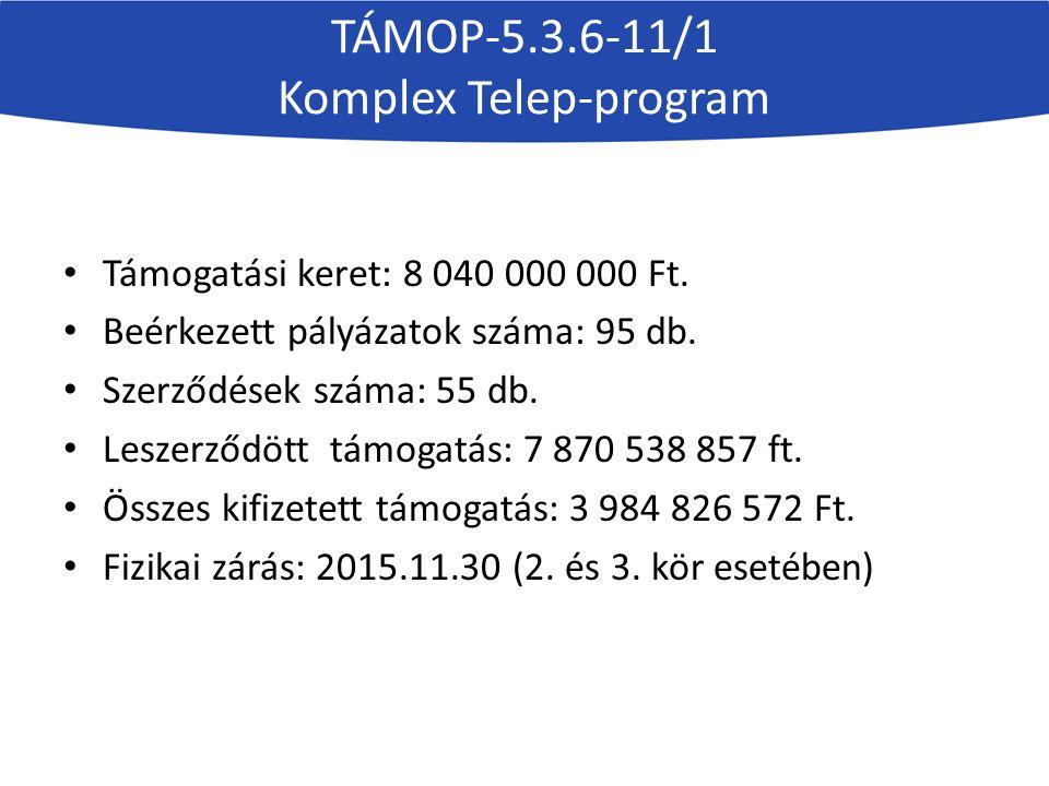 TÁMOP-5.3.6-11/1 Komplex Telep-program Indikátor neveTerv értékTény értékteljesítés %-ban Foglalkoztatásban résztvevő személyek száma28925186,85% Képzésben résztvevők száma2715102537,75% Programba bevont személyek száma4451228451,31% Gyakorlati képzést munkahelyi körülmények közt teljesítők száma128662148,29% A program hatására más programba bekapcsolódó személyek száma100827527,28% Az Egyéni fejlesztési terv lezárását követő 6 hónapon belül legalább 3 hónapot kereső foglalkoztatásban töltő személyek száma21210047,17% Pozitív eredménnyel kikerült személyek száma280643215,40% Képzést eredményesen elvégzők száma (végzettséget/képzettséget szerző személyek száma)170486450,70%