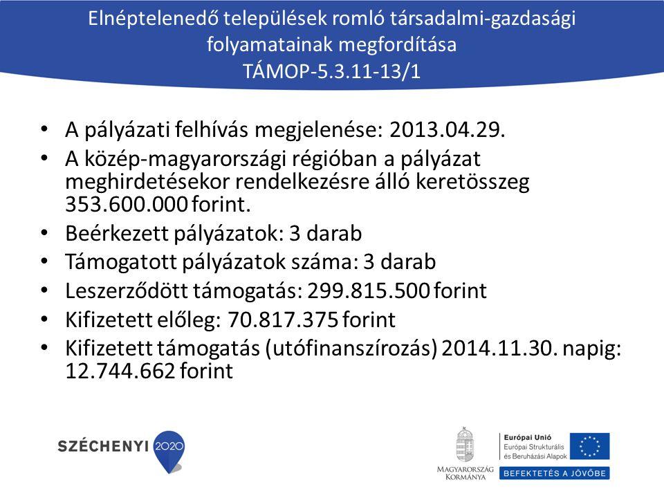 Elnéptelenedő települések romló társadalmi-gazdasági folyamatainak megfordítása TÁMOP-5.3.11-13/1 A pályázati felhívás megjelenése: 2013.04.29. A közé