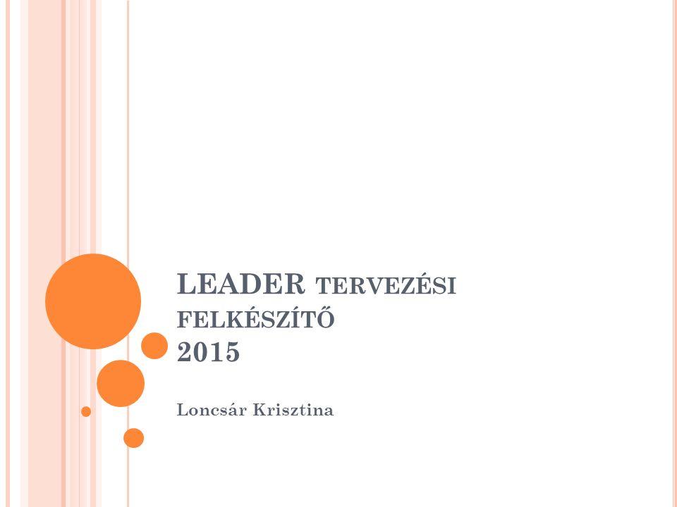 LEADER TERVEZÉSI FELKÉSZÍTŐ 2015 Loncsár Krisztina