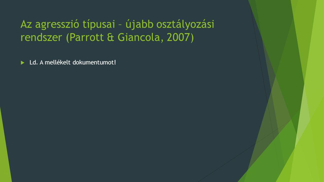 Az agresszió típusai – újabb osztályozási rendszer (Parrott & Giancola, 2007)  Ld.