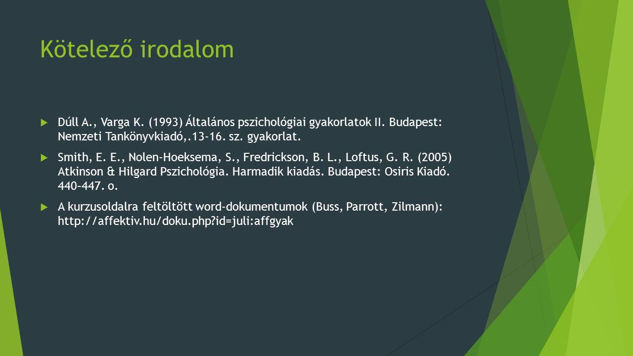 Kötelező irodalom  Dúll A., Varga K. (1993) Általános pszichológiai gyakorlatok II.