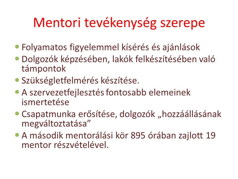 Mentori tevékenység szerepe Folyamatos figyelemmel kísérés és ajánlások Dolgozók képzésében, lakók felkészítésében való támpontok Szükségletfelmérés k