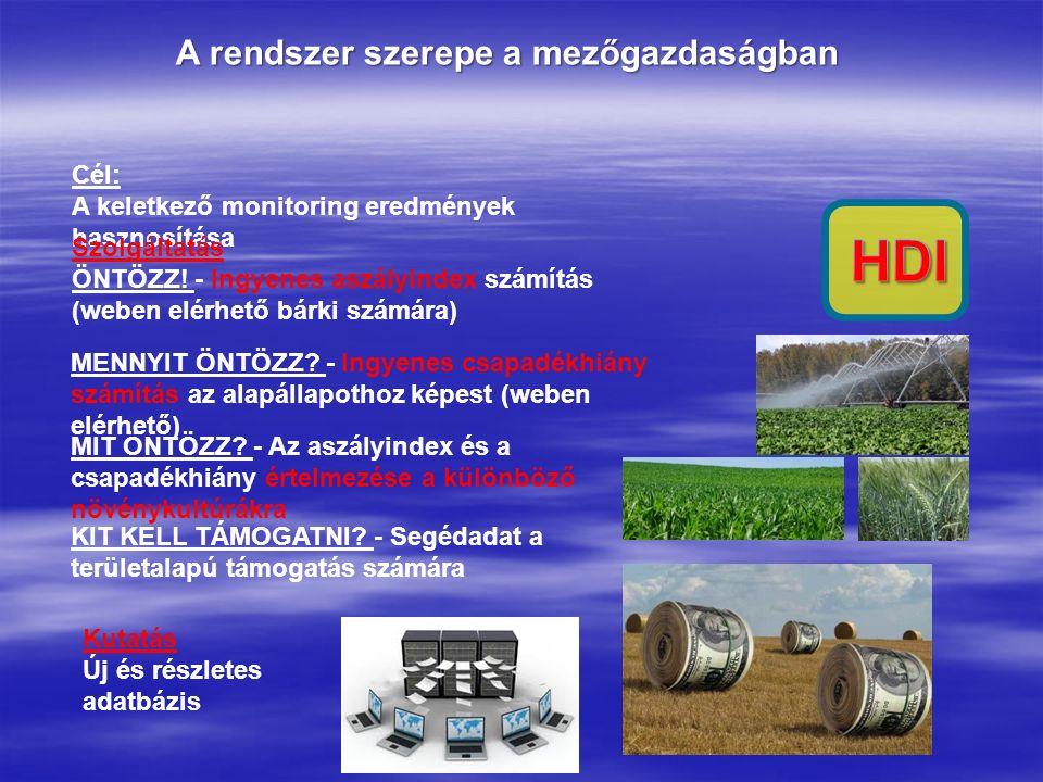 A rendszer szerepe a mezőgazdaságban Cél: A keletkező monitoring eredmények hasznosítása Kutatás Új és részletes adatbázis Szolgáltatás ÖNTÖZZ! - Ingy