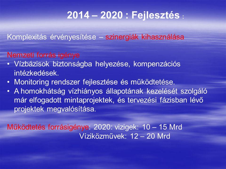2014 – 2020 : Fejlesztés : Komplexitás érvényesítése – szinergiák kihasználása Nemzeti forrás igénye Vízbázisok biztonságba helyezése, kompenzációs intézkedések.