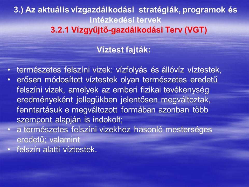 3.) Az aktuális vízgazdálkodási stratégiák, programok és intézkedési tervek 3.2.1 Vízgyűjtő-gazdálkodási Terv (VGT) Víztest fajták: természetes felszí
