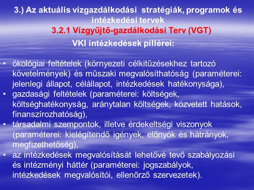 3.) Az aktuális vízgazdálkodási stratégiák, programok és intézkedési tervek 3.2.1 Vízgyűjtő-gazdálkodási Terv (VGT) VKI intézkedések pillérei: ökológiai feltételek (környezeti célkitűzésekhez tartozó követelmények) és műszaki megvalósíthatóság (paraméterei: jelenlegi állapot, célállapot, intézkedések hatékonysága), gazdasági feltételek (paraméterei: költségek, költséghatékonyság, aránytalan költségek, közvetett hatások, finanszírozhatóság), társadalmi szempontok, illetve érdekeltségi viszonyok (paraméterei: kielégítendő igények, előnyök és hátrányok, megfizethetőség), az intézkedések megvalósítását lehetővé tevő szabályozási és intézményi háttér (paraméterei: jogszabályok, intézkedések megvalósítói, ellenőrző szervezetek).