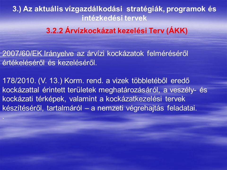 3.) Az aktuális vízgazdálkodási stratégiák, programok és intézkedési tervek 3.2.2 Árvízkockázat kezelési Terv (ÁKK) 2007/60/EK Irányelve az árvízi kockázatok felméréséről értékeléséről és kezeléséről.