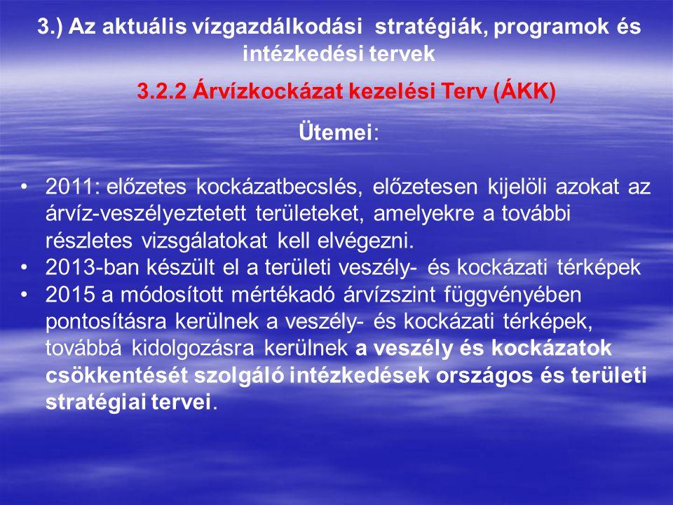 3.) Az aktuális vízgazdálkodási stratégiák, programok és intézkedési tervek 3.2.2 Árvízkockázat kezelési Terv (ÁKK) Ütemei: 2011: előzetes kockázatbecslés, előzetesen kijelöli azokat az árvíz-veszélyeztetett területeket, amelyekre a további részletes vizsgálatokat kell elvégezni.