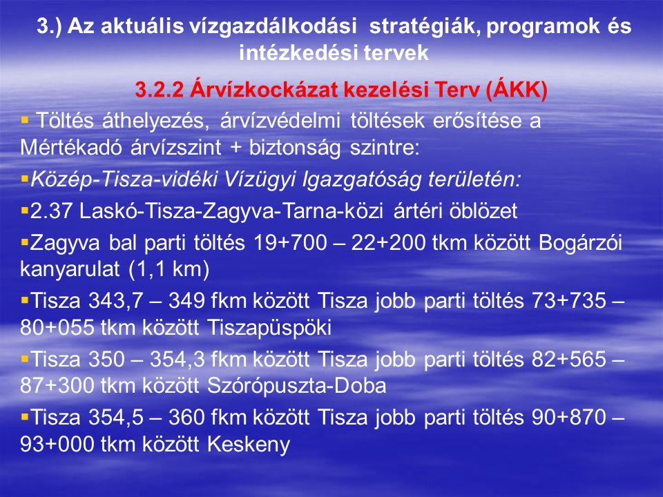 3.) Az aktuális vízgazdálkodási stratégiák, programok és intézkedési tervek 3.2.2 Árvízkockázat kezelési Terv (ÁKK)  Töltés áthelyezés, árvízvédelmi töltések erősítése a Mértékadó árvízszint + biztonság szintre:  Közép-Tisza-vidéki Vízügyi Igazgatóság területén:  2.37 Laskó-Tisza-Zagyva-Tarna-közi ártéri öblözet  Zagyva bal parti töltés 19+700 – 22+200 tkm között Bogárzói kanyarulat (1,1 km)  Tisza 343,7 – 349 fkm között Tisza jobb parti töltés 73+735 – 80+055 tkm között Tiszapüspöki  Tisza 350 – 354,3 fkm között Tisza jobb parti töltés 82+565 – 87+300 tkm között Szórópuszta-Doba  Tisza 354,5 – 360 fkm között Tisza jobb parti töltés 90+870 – 93+000 tkm között Keskeny
