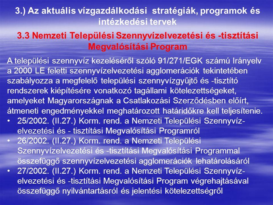 3.) Az aktuális vízgazdálkodási stratégiák, programok és intézkedési tervek 3.3 Nemzeti Települési Szennyvízelvezetési és -tisztítási Megvalósítási Pr