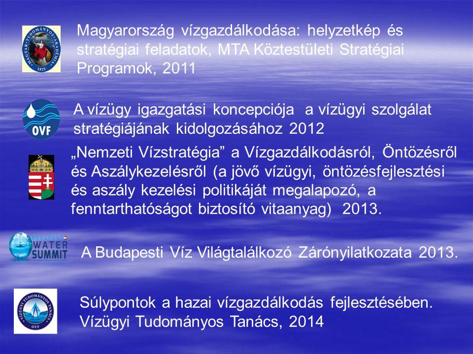 """Magyarország vízgazdálkodása: helyzetkép és stratégiai feladatok, MTA Köztestületi Stratégiai Programok, 2011 A vízügy igazgatási koncepciója a vízügyi szolgálat stratégiájának kidolgozásához 2012 """"Nemzeti Vízstratégia a Vízgazdálkodásról, Öntözésről és Aszálykezelésről (a jövő vízügyi, öntözésfejlesztési és aszály kezelési politikáját megalapozó, a fenntarthatóságot biztosító vitaanyag) 2013."""