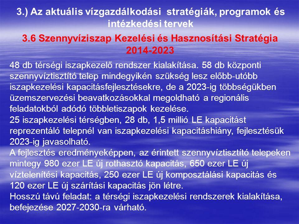 3.) Az aktuális vízgazdálkodási stratégiák, programok és intézkedési tervek 3.6 Szennyvíziszap Kezelési és Hasznosítási Stratégia 2014-2023 48 db térségi iszapkezelő rendszer kialakítása.