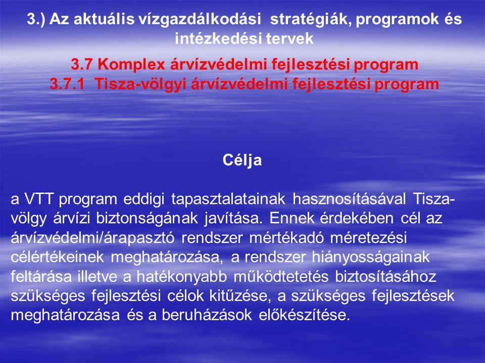 3.) Az aktuális vízgazdálkodási stratégiák, programok és intézkedési tervek Célja a VTT program eddigi tapasztalatainak hasznosításával Tisza- völgy árvízi biztonságának javítása.