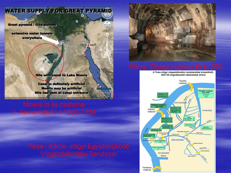 Moeris tó és csatorna III. Amnemah Kr.e 1860–1814 Róma: Cloaca maxima Kr e 600 Tisza - Körös- völgyi Együttműködő Vízgazdálkodási Rendszer