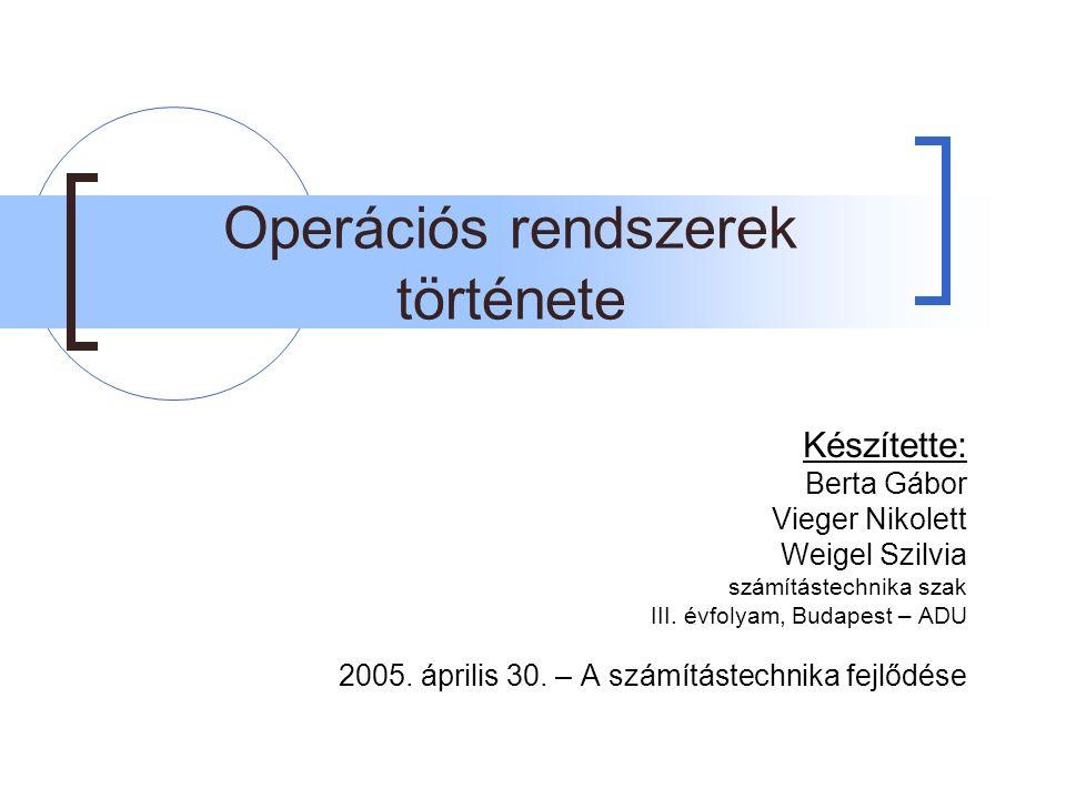 Operációs rendszerek története Készítette: Berta Gábor Vieger Nikolett Weigel Szilvia számítástechnika szak III.