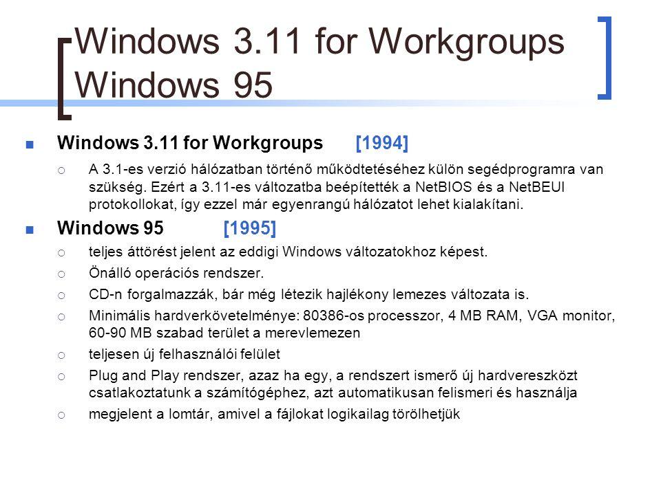 Windows 3.11 for Workgroups Windows 95 Windows 3.11 for Workgroups [1994]  A 3.1-es verzió hálózatban történő működtetéséhez külön segédprogramra van szükség.