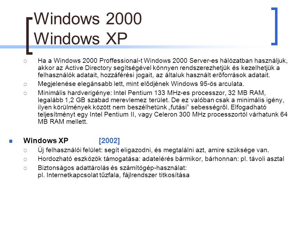 Windows 2000 Windows XP  Ha a Windows 2000 Proffessional-t Windows 2000 Server-es hálózatban használjuk, akkor az Active Directory segítségével könnyen rendszerezhetjük és kezelhetjük a felhasználók adatait, hozzáférési jogait, az általuk használt erőforrások adatait.