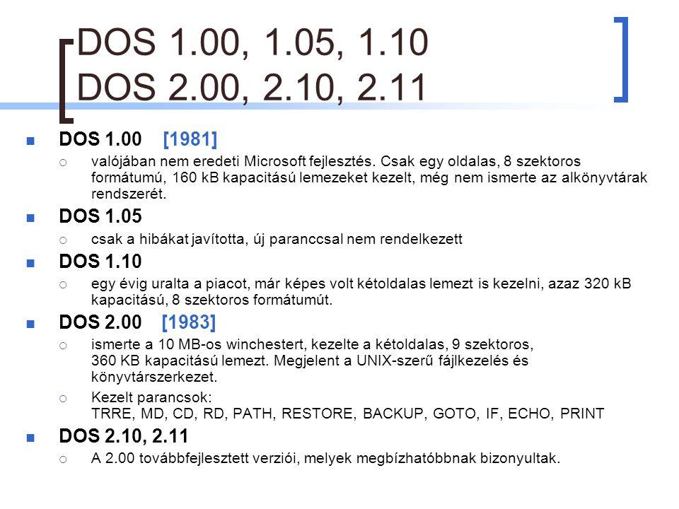 DOS 1.00, 1.05, 1.10 DOS 2.00, 2.10, 2.11 DOS 1.00 [1981]  valójában nem eredeti Microsoft fejlesztés.