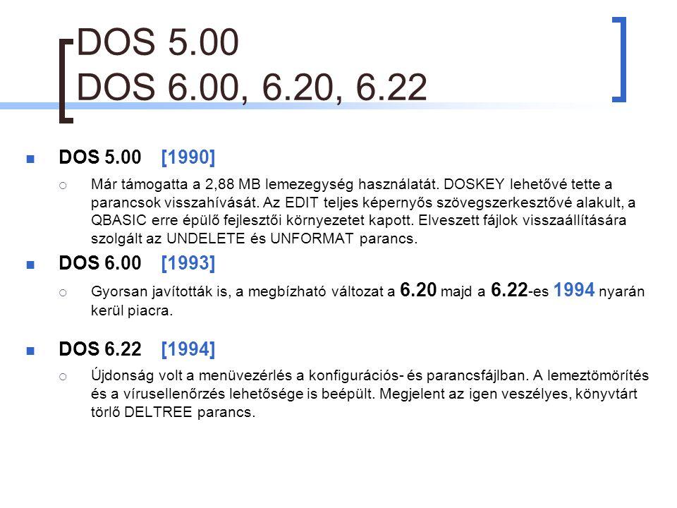 DOS 5.00 DOS 6.00, 6.20, 6.22 DOS 5.00[1990]  Már támogatta a 2,88 MB lemezegység használatát.