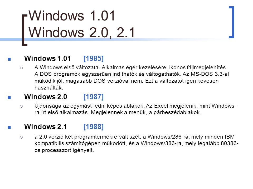 Windows 1.01 Windows 2.0, 2.1 Windows 1.01[1985]  A Windows első változata.