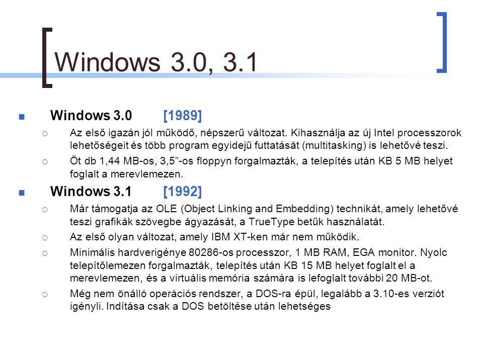 Windows 3.0, 3.1 Windows 3.0[1989]  Az első igazán jól működő, népszerű változat.