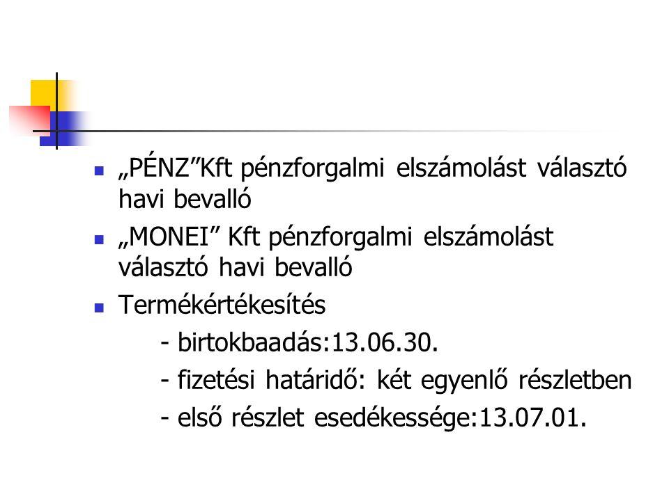 """""""PÉNZ Kft pénzforgalmi elszámolást választó havi bevalló """"MONEI Kft pénzforgalmi elszámolást választó havi bevalló Termékértékesítés - birtokbaadás:13.06.30."""