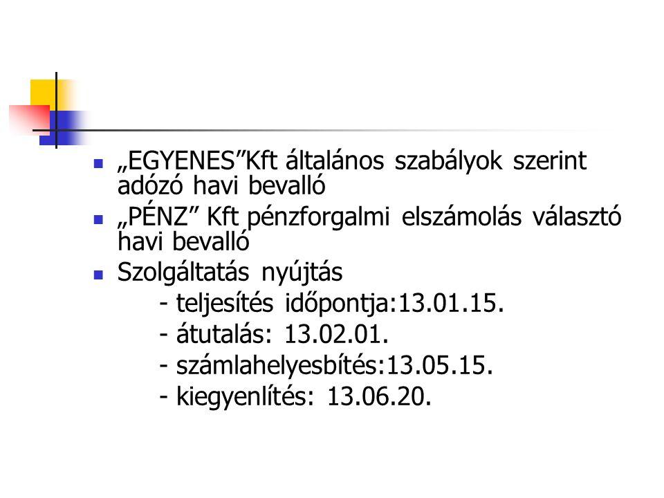 """""""EGYENES Kft általános szabályok szerint adózó havi bevalló """"PÉNZ Kft pénzforgalmi elszámolás választó havi bevalló Szolgáltatás nyújtás - teljesítés időpontja:13.01.15."""