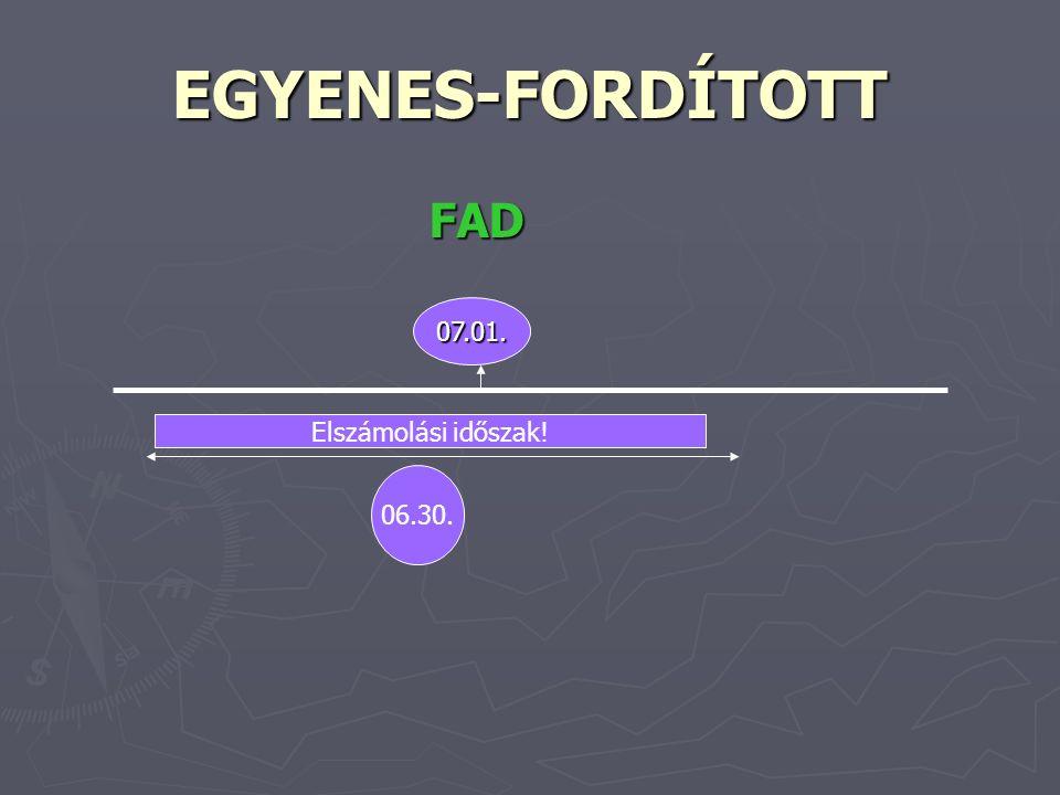 EGYENES-FORDÍTOTT FAD FAD 07.01. 06.30. Elszámolási időszak!