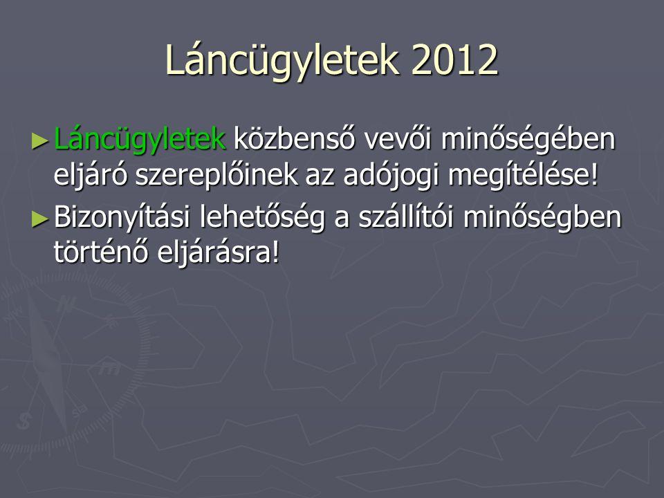 Láncügyletek 2012 ► Láncügyletek közbenső vevői minőségében eljáró szereplőinek az adójogi megítélése! ► Bizonyítási lehetőség a szállítói minőségben
