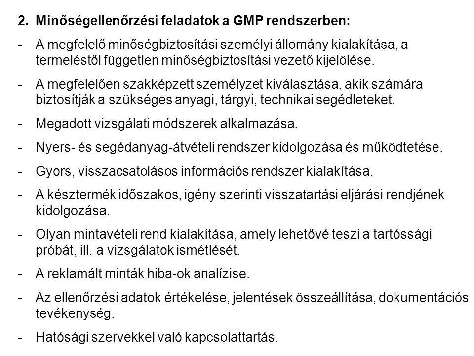 2.Minőségellenőrzési feladatok a GMP rendszerben: -A megfelelő minőségbiztosítási személyi állomány kialakítása, a termeléstől független minőségbiztosítási vezető kijelölése.