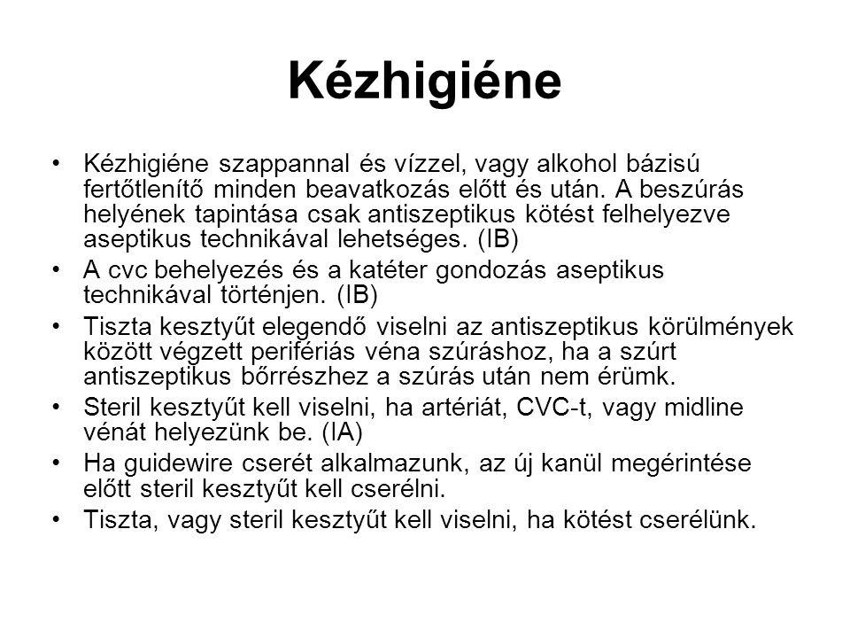 Kézhigiéne Kézhigiéne szappannal és vízzel, vagy alkohol bázisú fertőtlenítő minden beavatkozás előtt és után.