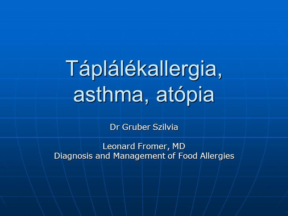 Táplálékallergia, asthma, atópia Dr Gruber Szilvia Leonard Fromer, MD Diagnosis and Management of Food Allergies