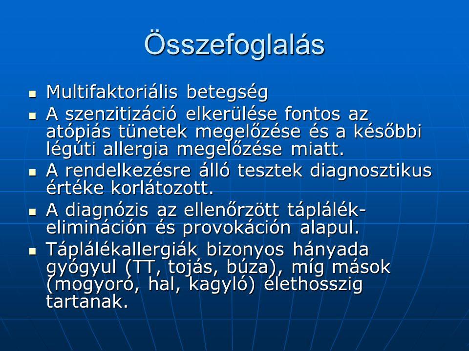 Összefoglalás Multifaktoriális betegség Multifaktoriális betegség A szenzitizáció elkerülése fontos az atópiás tünetek megelőzése és a későbbi légúti allergia megelőzése miatt.
