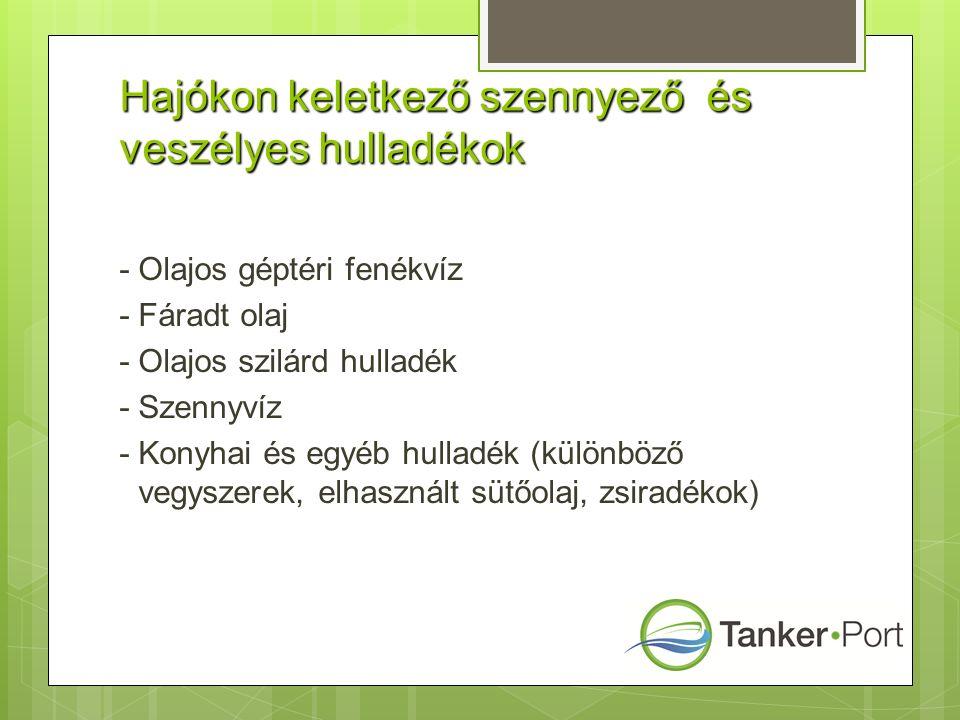 Hajókon keletkező szennyező és veszélyes hulladékok - Olajos géptéri fenékvíz - Fáradt olaj - Olajos szilárd hulladék - Szennyvíz - Konyhai és egyéb hulladék (különböző vegyszerek, elhasznált sütőolaj, zsiradékok)