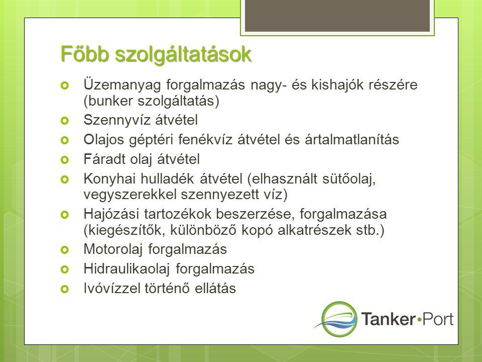 Főbb szolgáltatások  Üzemanyag forgalmazás nagy- és kishajók részére (bunker szolgáltatás)  Szennyvíz átvétel  Olajos géptéri fenékvíz átvétel és ártalmatlanítás  Fáradt olaj átvétel  Konyhai hulladék átvétel (elhasznált sütőolaj, vegyszerekkel szennyezett víz)  Hajózási tartozékok beszerzése, forgalmazása (kiegészítők, különböző kopó alkatrészek stb.)  Motorolaj forgalmazás  Hidraulikaolaj forgalmazás  Ivóvízzel történő ellátás