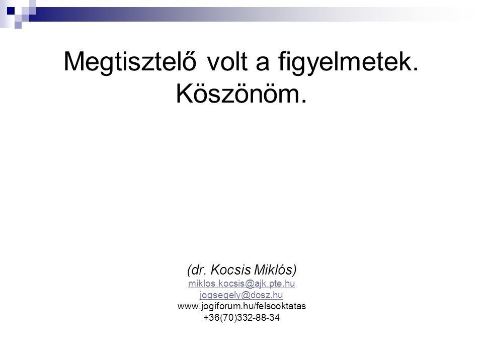 Megtisztelő volt a figyelmetek. Köszönöm. (dr. Kocsis Miklós) miklos.kocsis@ajk.pte.hu jogsegely@dosz.hu www.jogiforum.hu/felsooktatas +36(70)332-88-3