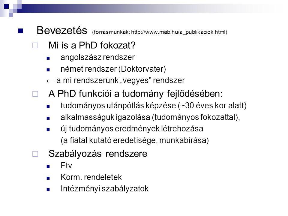 Bevezetés (forrásmunkák: http://www.mab.hu/a_publikaciok.html)  Mi is a PhD fokozat? angolszász rendszer német rendszer (Doktorvater) ← a mi rendszer