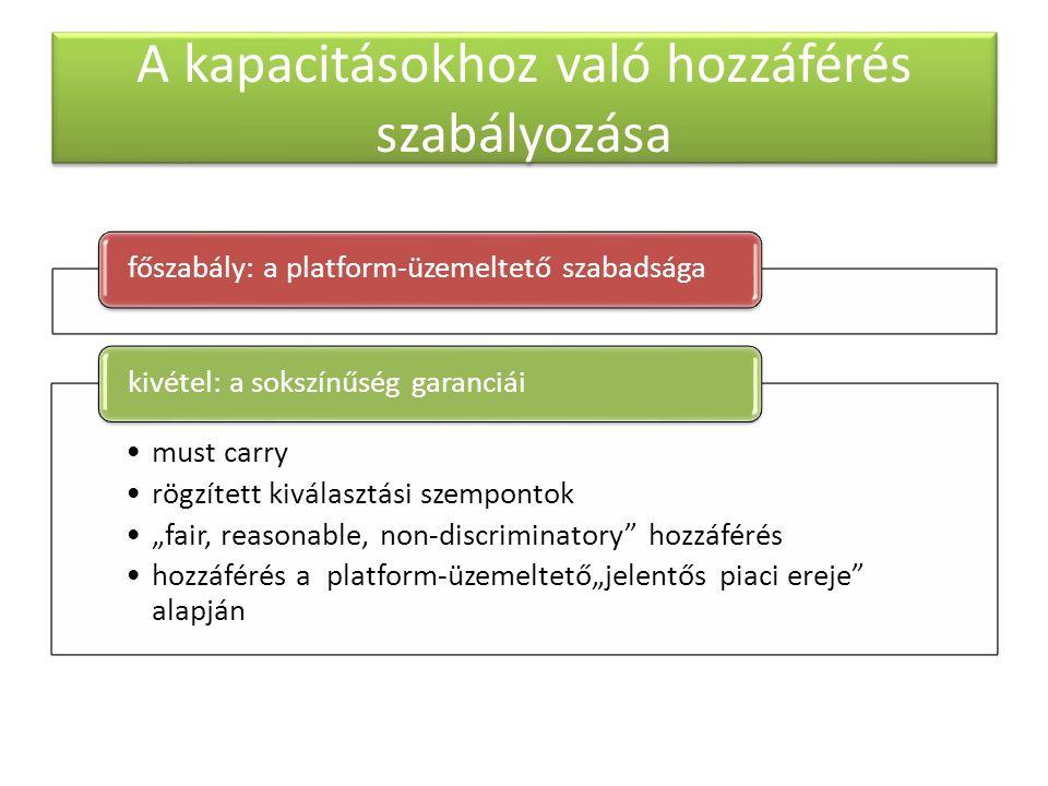 """A kapacitásokhoz való hozzáférés szabályozása főszabály: a platform-üzemeltető szabadsága must carry rögzített kiválasztási szempontok """"fair, reasonable, non-discriminatory hozzáférés hozzáférés a platform-üzemeltető""""jelentős piaci ereje alapján kivétel: a sokszínűség garanciái"""