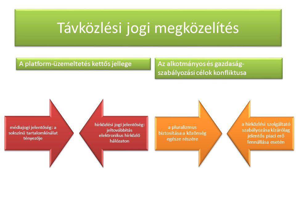 Távközlési jogi megközelítés A platform-üzemeltetés kettős jellege médiajogi jelentőség: a sokszínű tartalomkínálat tényezője hírközlési jogi jelentőség: jeltovábbítás elektronikus hírközlő hálózaton Az alkotmányos és gazdaság- szabályozási célok konfliktusa a pluralizmus biztosítása a közönség egésze részére a hírközlési szolgáltató szabályozása kizárólag jelentős piaci erő fennállása esetén