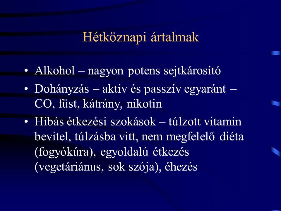 Hétköznapi ártalmak Alkohol – nagyon potens sejtkárosító Dohányzás – aktív és passzív egyaránt – CO, füst, kátrány, nikotin Hibás étkezési szokások – túlzott vitamin bevitel, túlzásba vitt, nem megfelelő diéta (fogyókúra), egyoldalú étkezés (vegetáriánus, sok szója), éhezés