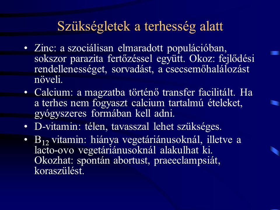Szükségletek a terhesség alatt Zinc: a szociálisan elmaradott populációban, sokszor parazita fertőzéssel együtt.