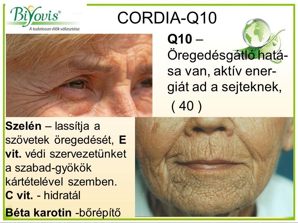 13 Q10 – Öregedésgátló hatá- sa van, aktív ener- giát ad a sejteknek, ( 40 ) Szelén – lassítja a szövetek öregedését, E vit.