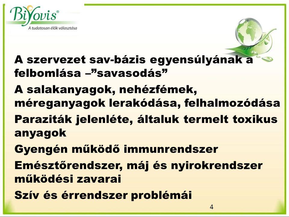 4 A szervezet sav-bázis egyensúlyának a felbomlása – savasodás A salakanyagok, nehézfémek, méreganyagok lerakódása, felhalmozódása Paraziták jelenléte, általuk termelt toxikus anyagok Gyengén működő immunrendszer Emésztőrendszer, máj és nyirokrendszer működési zavarai Szív és érrendszer problémái