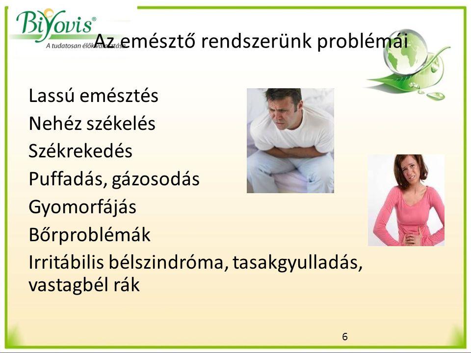 6 Az emésztő rendszerünk problémái Lassú emésztés Nehéz székelés Székrekedés Puffadás, gázosodás Gyomorfájás Bőrproblémák Irritábilis bélszindróma, tasakgyulladás, vastagbél rák