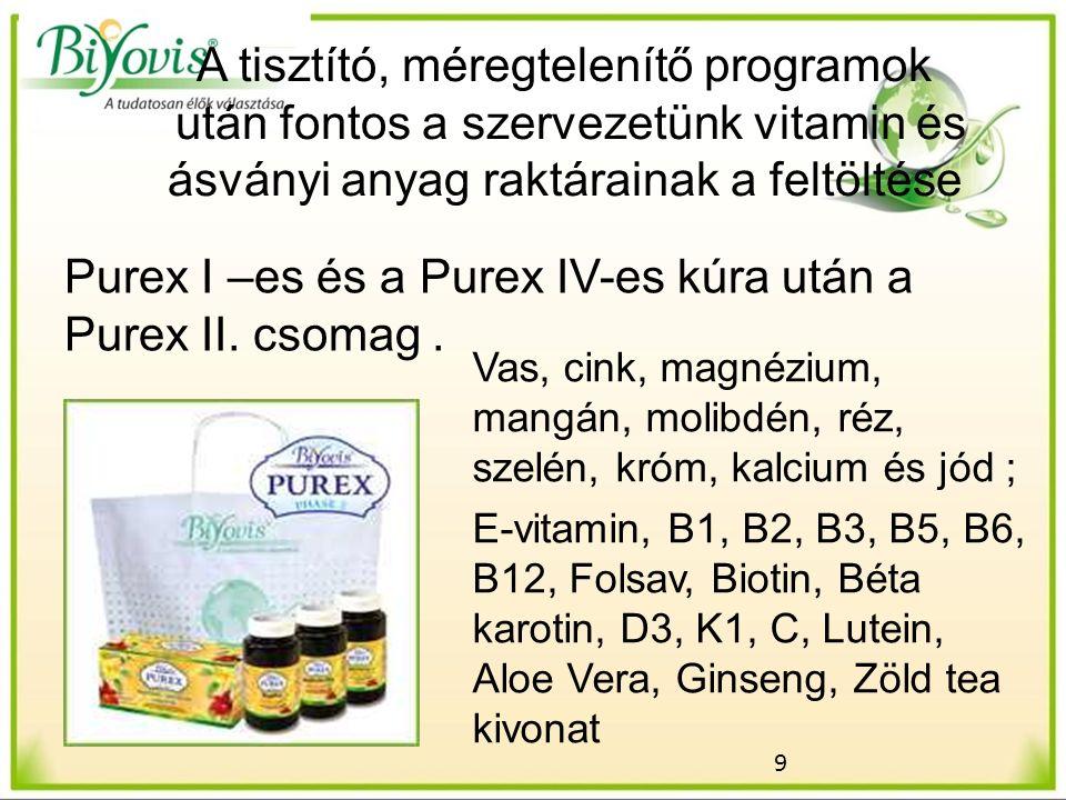 9 A tisztító, méregtelenítő programok után fontos a szervezetünk vitamin és ásványi anyag raktárainak a feltöltése Purex I –es és a Purex IV-es kúra után a Purex II.