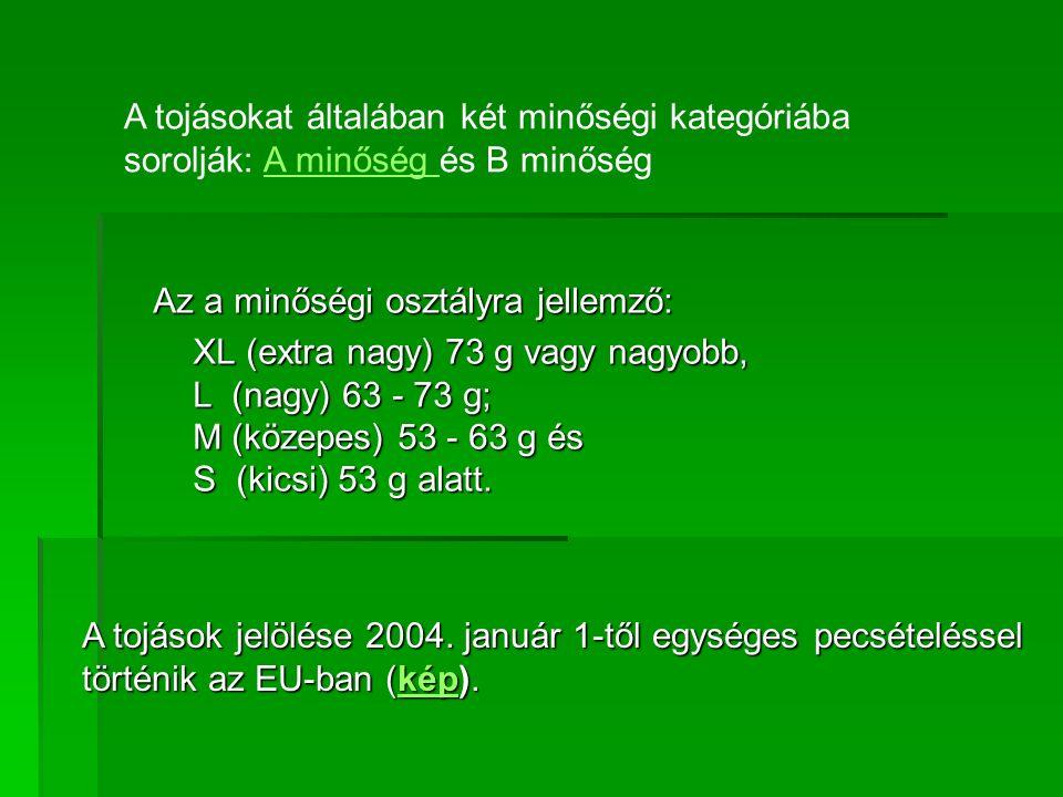 Az a minőségi osztályra jellemző: XL (extra nagy) 73 g vagy nagyobb, L (nagy) 63 - 73 g; M (közepes) 53 - 63 g és S (kicsi) 53 g alatt.