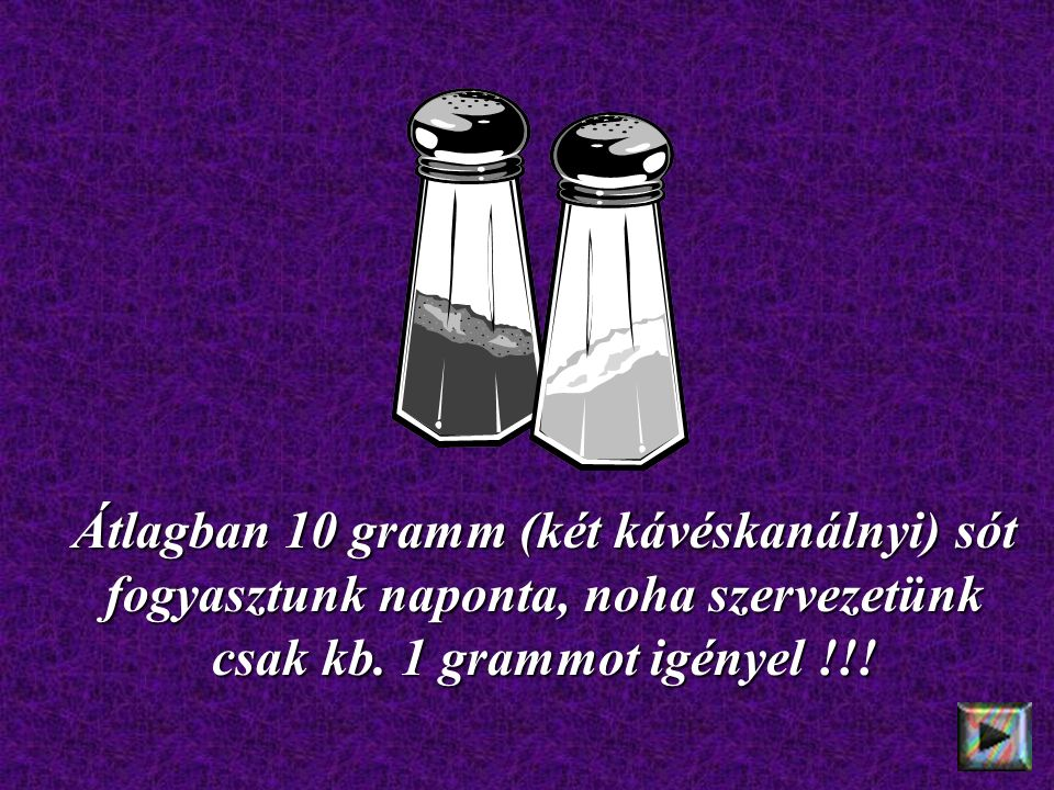 Átlagban 10 gramm (két kávéskanálnyi) sót fogyasztunk naponta, noha szervezetünk csak kb. 1 grammot igényel !!!