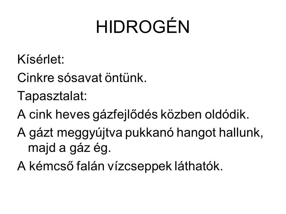 Magyarázat: A cink a sósavból hidrogén gázt fejleszt.